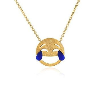 "Crying Laughing Emoji Necklace, Wearable Emoji Themed Gifts, Quirky Love Friendship Necklaces, Funny Emoji Jewelry for Women, 17"" Chain"