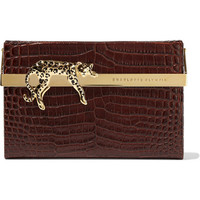 Charlotte Olympia - Savage Vanina embellished croc-effect glossed-leather clutch