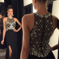 Charming O-Neck Beaded Crystal Split Long Prom Dresses 2017 Customized Black Chiffon Women Party Gowns  Vestido De Baile African