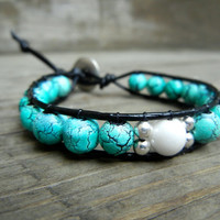 Beaded Leather Single Wrap Stackable Bracelet with Turquoise White and Silver Glass Beads on Genuine Black Leather