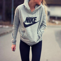 """NIKE"" Women Fashion Hooded Top Pullover Sweater Sweatshirt Grey"