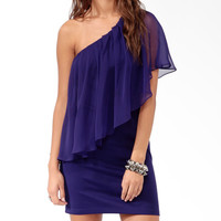 Pleated Chiffon Overlay Dress