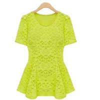 FASHION HOLLOWED-OUT ROUND NECKLINE SHORT SLEEVES SUMMER TOP from wwwwww
