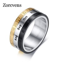 ZORCVENS Mens Ring with Month Day Date Unique Spinner Stainless Steel Rings for Men Male Party Daily Jewelry