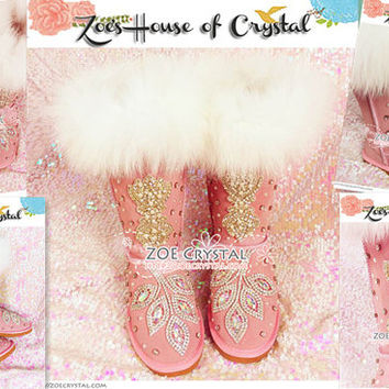 Winter Sales-  Bling and Sparkly Fox Fur Cuff Winter Wool BOOTS with Clear White Crystals in LeaveStyle