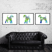 Buy 2 Get 1 FREE!!! Airedale Terrier Watercolor Print, Children's Wall, Art Home Decor, dog watercolor, Terrier art, animal watercolor