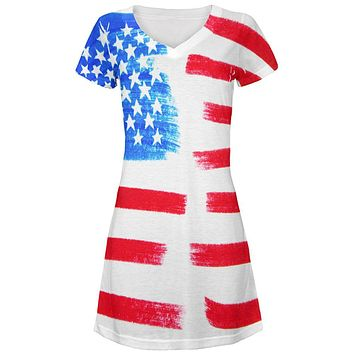 4th of July Color Me American All Over Juniors Beach Cover-Up Dress