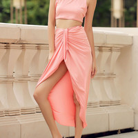Sexy  Round Neck Candy Color Crop Top and Irregular Skirt Two-Piece Set