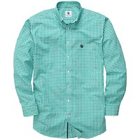 Goal Line Shirt in Kelly Green Gingham by Southern Proper