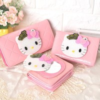Cute Cartoon Hello Kitty Famous Brand Designer Wallets Magic Mirror Women Leather Purse For Girls Clutch Purse Lady Party Wallet