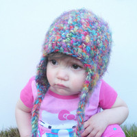 Rainbow Multicolor Fuzzy Crochet Earflap Beanie Hat, infants 0-24 months, MADE TO ORDER.