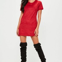 Missguided - Petite Burgundy Faux Suede T Shirt Dress