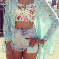 Women Floral Printed 3/4 Short Sleeved Chiffon Kimono Cardigan Tops Blouses (Color: Green) = 5709646913