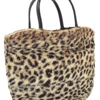 60s Faux Leopard Tote Bag Purse