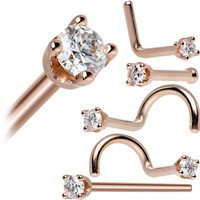 14KT Rose Gold 2mm Genuine Diamond Nose Ring | Body Candy Body Jewelry