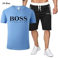 BOSS Summer Fashion New Letter Print Sports Leisure Top And Shorts Two Piece Suit Men 2# Blue