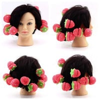 12pcs Rollers Curlers Strawberry Balls Hair Care Soft Sponge Lovely DIY Hair Curler Tool Free Shipping