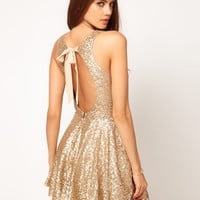 TFNC Sequin Dress with Open Back & Full Layered Prom Skirt