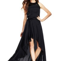 HALSTON HERITAGE Black High-Low Satin Evening Gown