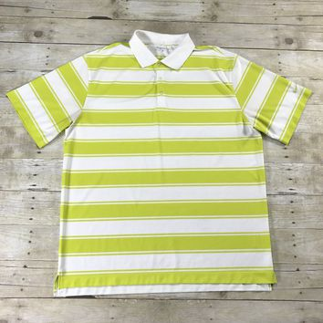 Nike Golf DRIFIT Striped Lime Green / White Golfing Polo Shirt Mens Size XL