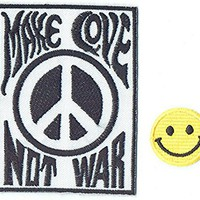 """""""MAKE LOVE PEACE NOT WAR"""" Applique embroidered iron on PATCHES (Wappen, ワッペン , 패치) with Yellow Tiny Smiley Patches by PATCH CUBE"""