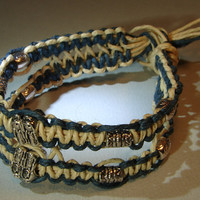 Unique hemp bracelet or anklet with one of a kind double interwoven strands and metal beads