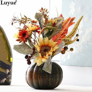 Luyue Creative Fake Pumpkin Sunflower Flower Plant Suit Festival Decoration Artificial Silk Flowers Halloween Decor Bonsai
