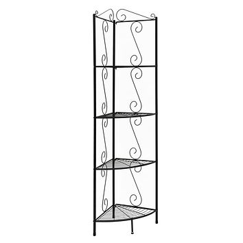 "Corner Shelf Unit - 15"" x 22'.5"" x 70"" Brown, Metal, Corner Shelf - Bookcase"