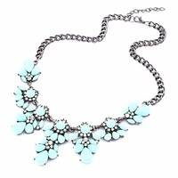 Fashion Silver Chain Spring Leaf Shaped Resin Cluster Bubble Statement Necklace Bib Necklace (Red)