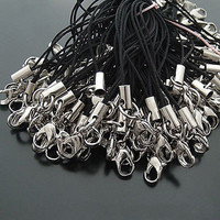 100 PCs Per Lot  Black Cell Phone Lanyard Cords Strap Lariat Mobile Lobster Clasp