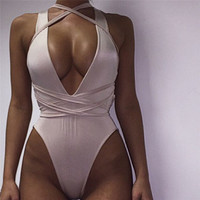 2016 Women Bodysuit Rompers Womens Jumpsuit Sleeveless Sexy Backless Bodycon Jumpsuits American Apparel Plus Size