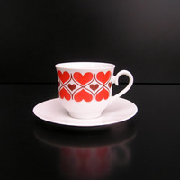 Vintage red heart hearts coffee cup saucer German Bavaria porcelain tea cup breakfast love I love you