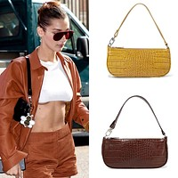 Crocodile pattern handbag niche design shoulder bag Ken bean the same style underarm bag bag bag bag small shoulder bag yellow or brown chocolate