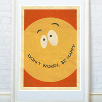 Don't Worry, Be Happy. Bobby McFerrin song inspirational quote, Famous positive words, Encouraging sayings. A4 or A3 size