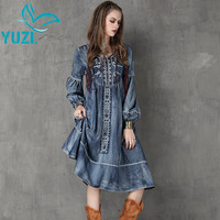 Women Dress 2017 Yuzi.may New Vintage Denim Dresses O-Neck Long Lantern Sleeve Embroidery Vestido A6553 Vestidos Femininos