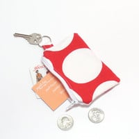 Red Coin Purse - Polka Dot - Coin Key Chain - Change Purse - Zipper Pouch - Change Holder
