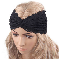 Feminine Lacey Black Turban Wrap Hair Band for Yoga, Workouts, or just Pretty!