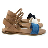Bliss19M By Bamboo, Women's Flat Sandal w Torn Frail / Fringe Canvas Jean Vamp, Ankle Strap