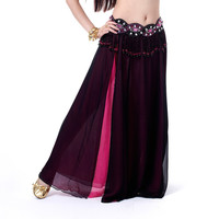 Lady Belly Dance Costume 2 layers with 2 Slit Chiffon Skirt Dress Multi Color A17 NW