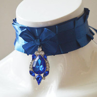Kitten play collar - Galactic jewel -  navy royal blue - lolita ddlg princess cute angel petplay choker with crystal pendant - nekollars