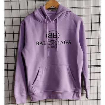 BALENCIAGA Popular Women Men Loose Print Hoodie Top Sweatshirt Sweatshirt
