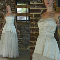 1950's Ivory Satin and Tulle Strapless Ruffled Lace Wedding Dress