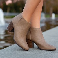 Avalon Closed Toe Booties in Taupe