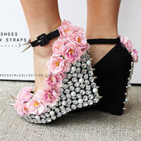 Floral Rhinestone Studded Spike Wedge Shoes 5 inch heels-sizes