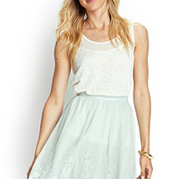 LOVE 21 Scalloped Mesh Embroidered Skirt Sage
