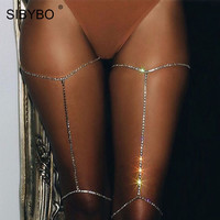 Sibybo Shorts Women Sliever Rhinestone Chains Leg Chains 2017 Unique Design Body Chain Sexy Club Party Thigh Chains