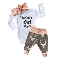Baby Girl's 3pc Outfit w/Print