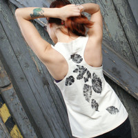 Women tank top, Beige top, Top with leaves, Foliage, Hand painted bespoke tee