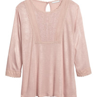 H&M - Embroidered Top - Pink - Ladies