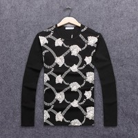 Versace 2018 autumn new trend men's slim round neck pullover sweater Black